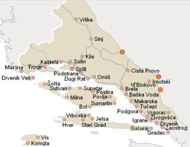 Map Of South Dalmatia Croatia Accommodation In Croatia Split
